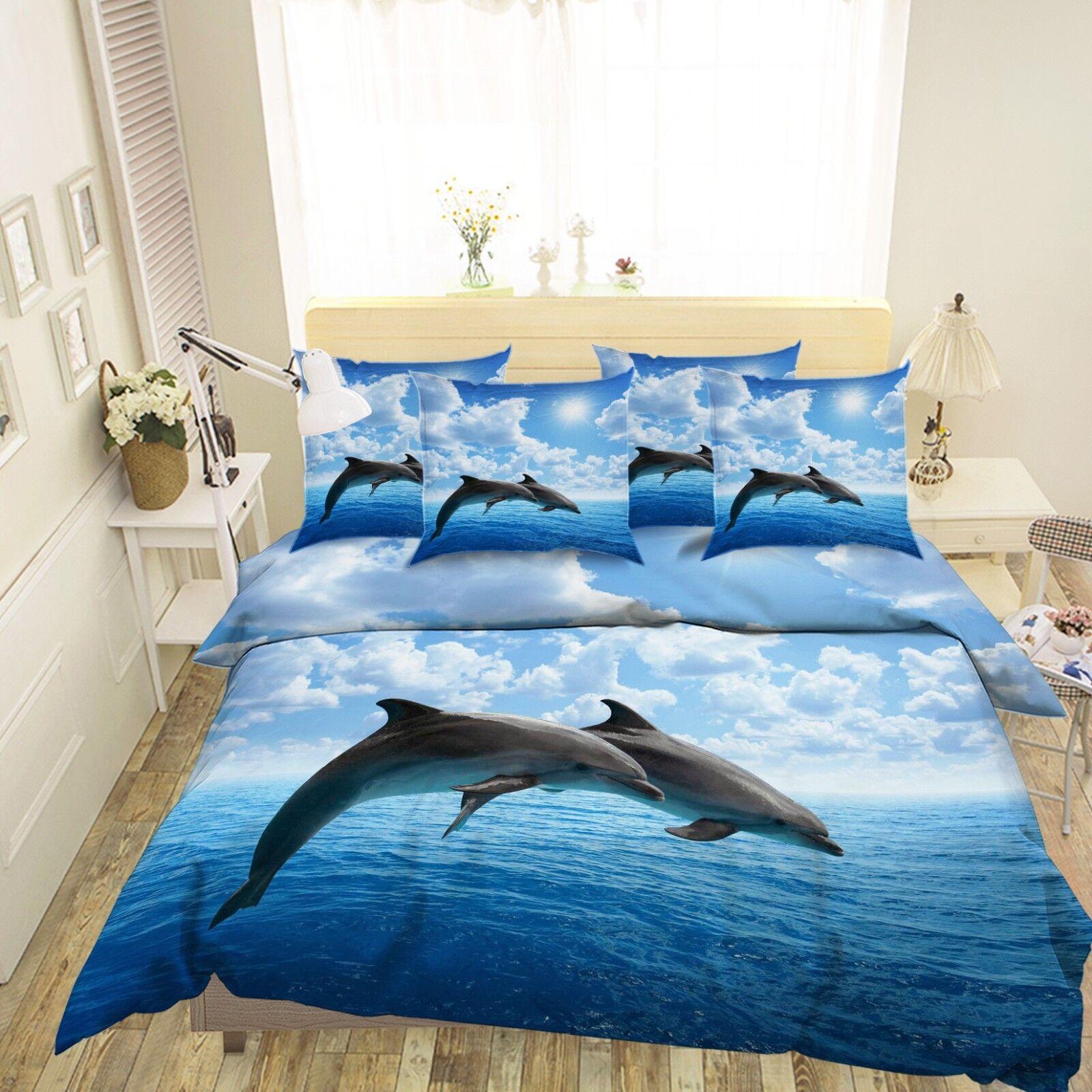 3D Dolphin Ocean 4 Bed Pillowcases Quilt Duvet Cover Set Single Queen US