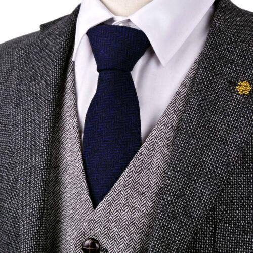 Tweed Solid Navy Blue Wool Mens Ties Neckties Casual Formal Business