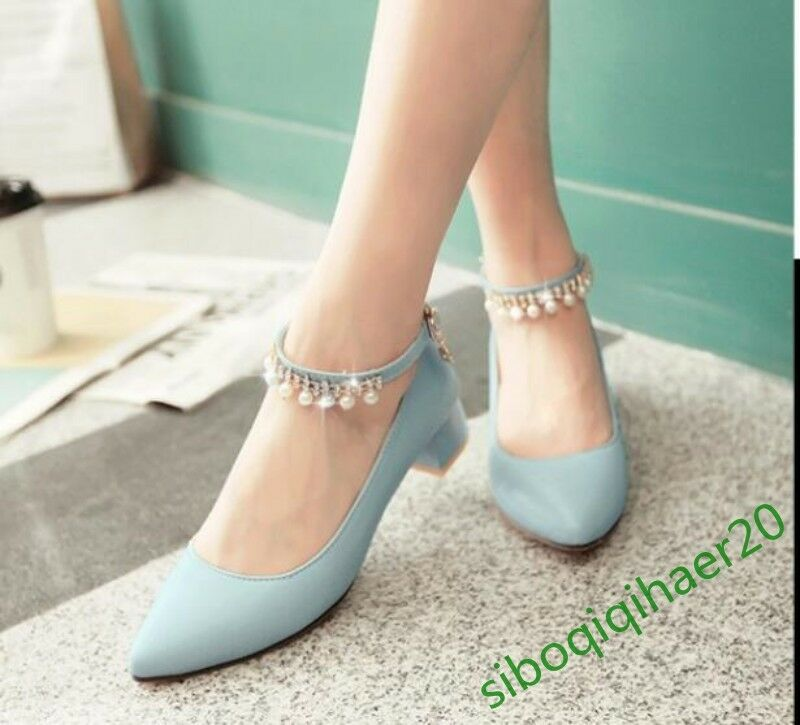Sweet Stylish Women's Ankle Strap Block Pumps Chunky heels rhinestone shoes size
