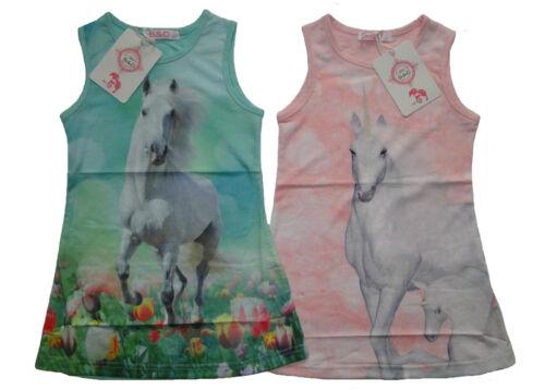 Mädchen T-Shirt Pferde Motiv Kinder kurzarm Shirt Top Pferd Einhorn Longshirt