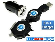 6 In 1 USB Universal Mobile Phone Car Charger Adapter Samsung iPhone Nokia Sony