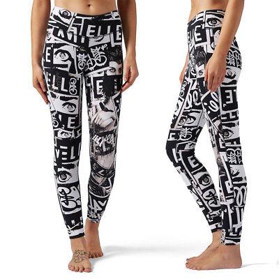Reebok Womens X Elle Lux Tight Graphic Print Gym Training Leggings Full Length Im In- Und Ausland FüR Exquisite Verarbeitung, Gekonntes Stricken Und Elegantes Design BerüHmt Zu Sein
