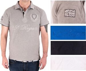 Mens-Cotton-Polo-Shirt-Thick-High-Quality-Union-Jack-New-Heavy-Embroidered-Logo