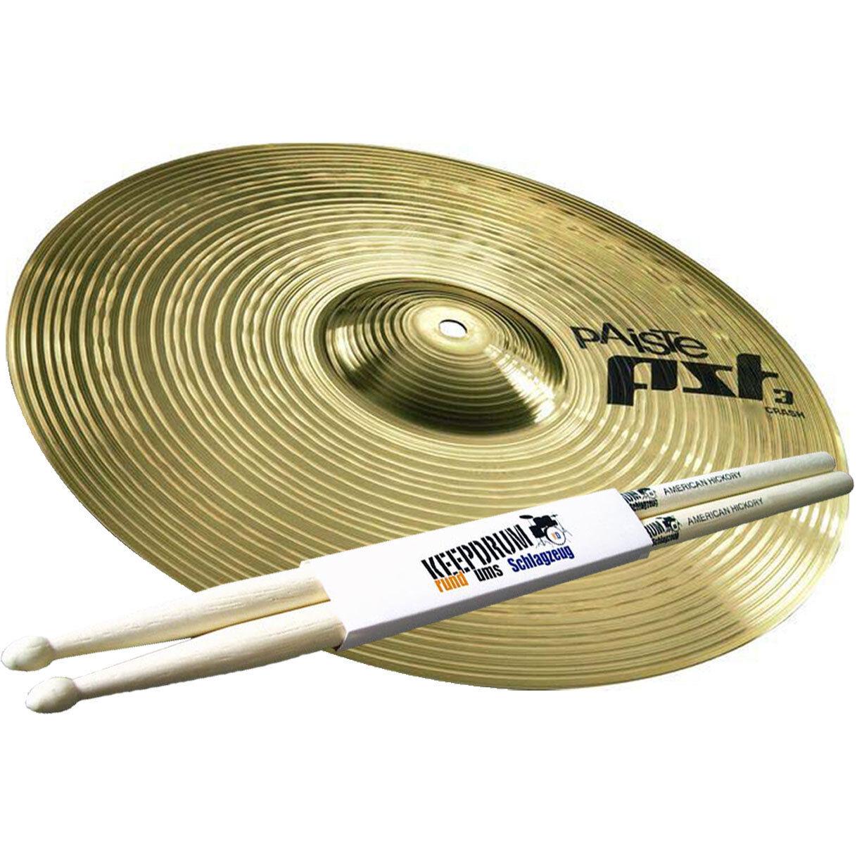 PAISTE PST3 16  Crash Becken + 5A keepdrum Drumsticks