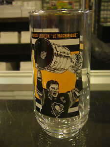 1990-91 PITTSBURGH PENGUINS EAT'N PARK MARIO LEMIEUX STANLEY CUP CHAMPS GLASS
