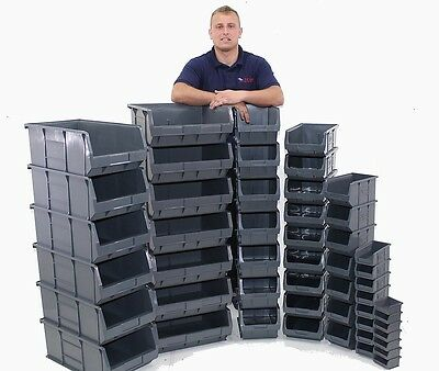 New Quality BRITISH MADE 100% Recycled Plastic Parts Storage Bins Boxes 7 SIZES