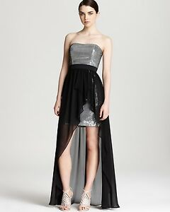 4c11f063e1e7 AQUA ~ Silver Sequins Strapless Grey Skirt Hi-Low Semi-Formal Gown 2 ...