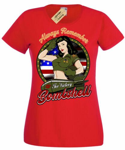 Always Remember American Bombshell T-Shirt usa pinup girl Womens Ladies
