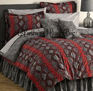 Image Is Loading Snakeskin Cobra Python Bedding Red Black Gray Comforter