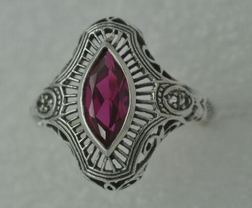 Ring ART DECO Rubin oder Saphir Weiß Topas 925 Sterling Silber  ANTIK STYLE