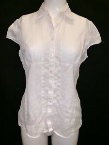 Austin Reed Women S 100 Linen White Cap Sleeve Blouse Uk 10 Work Casual Fashion Ebay