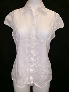 Austin Reed Women S 100 Linen White Cap Sleeve Blouse Uk 10 Work Casual Fashion Ebay