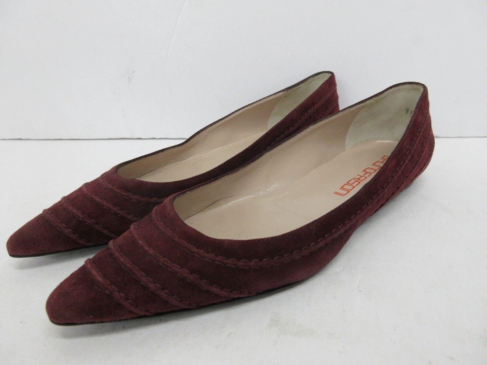 Bruno Frisoni Suede Leder Pointed Toe Flats in Burgundy Größe: 39 EUR
