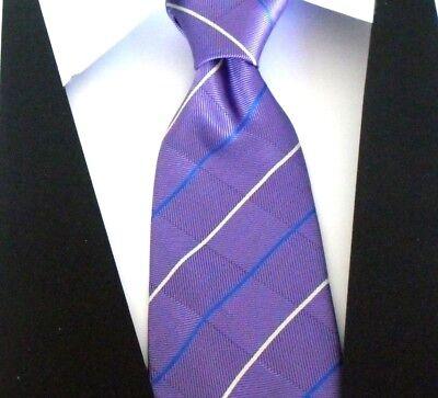 100% Pura Seta Uomo Cravatta Viola Con Bianco E Blu A Righe Diagonali Modello- Rimozione Dell'Ostruzione