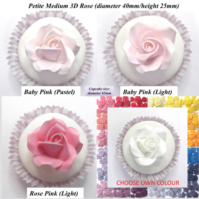 100 Roses sized 20 mm   edible sugar cupcake topper Birthday wedding