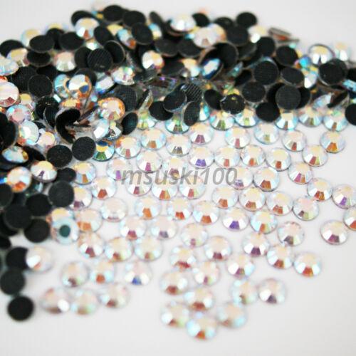 1000 AB CRYSTAL HOT FIX RHINESTONE CUT GLASS DIAMANTE IRON ON GEMS BEADS DMC