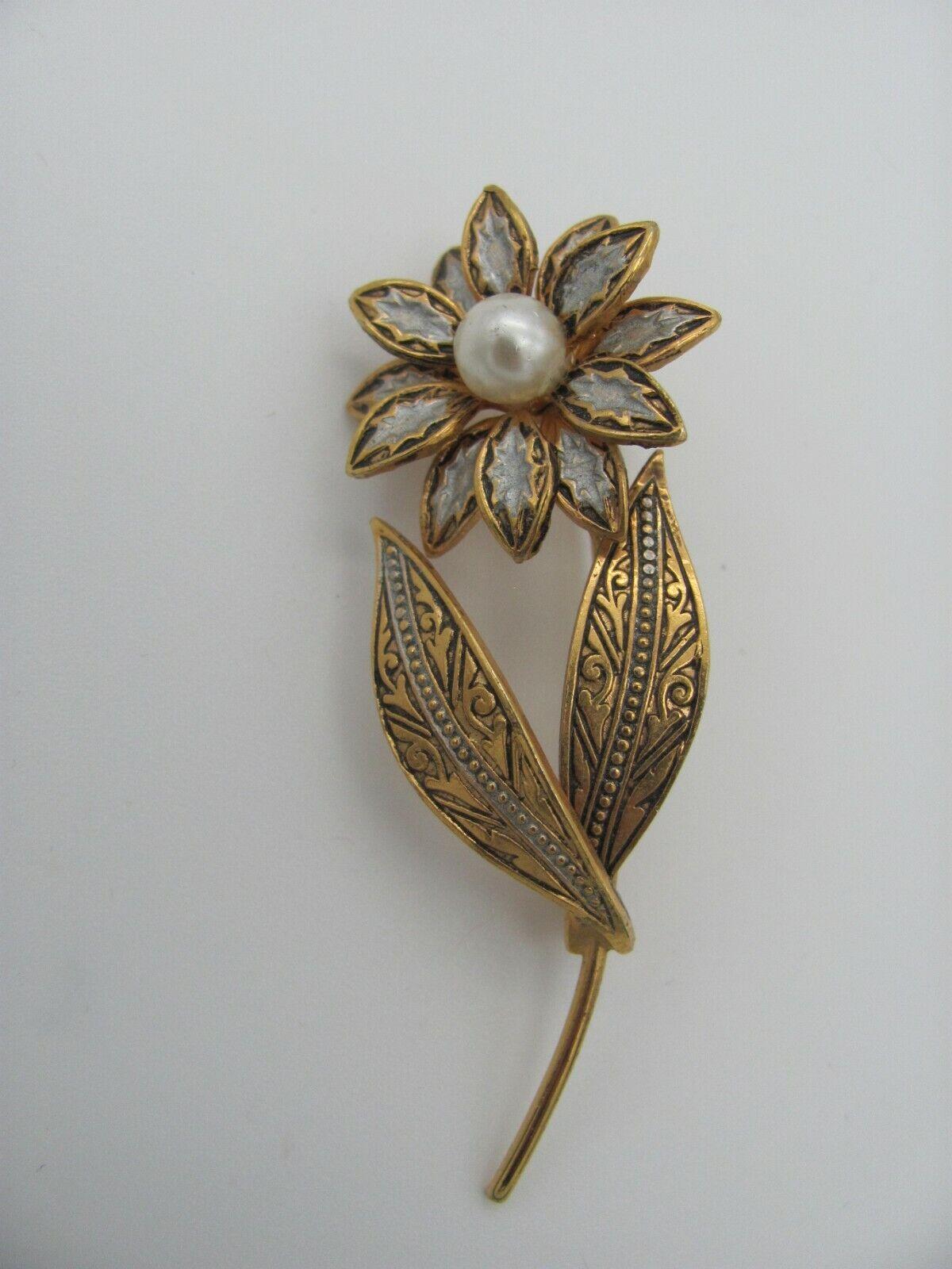 Vintage Damascene Style Flower Brooch