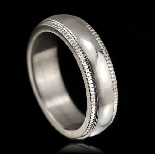 18K WHITE GOLD GF 5MM SILVER MENS WOMENS WEDDING ANNIVERSARY ETERNITY BAND RING