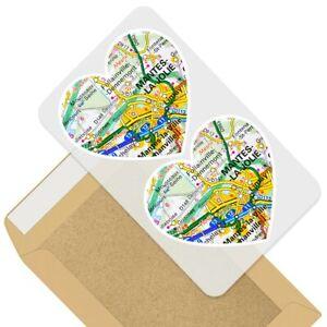 2-x-Heart-Stickers-7-5-cm-Mante-la-Jolie-France-French-Travel-Map-45673