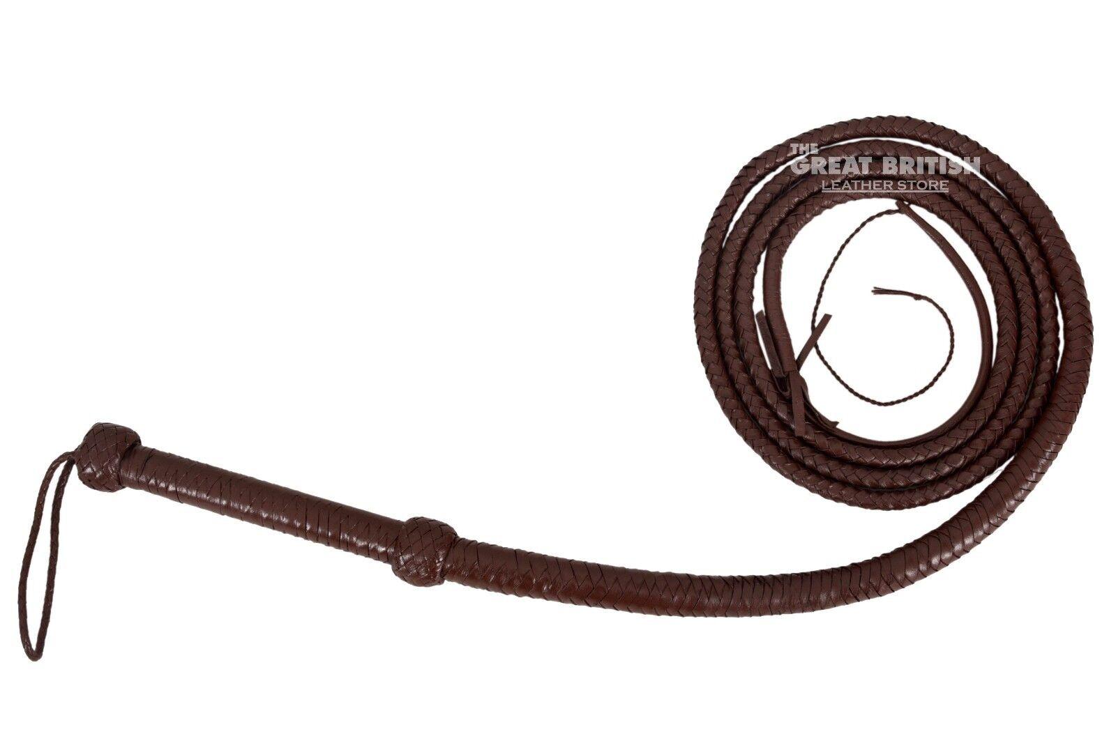 INDIANA JONES BULL WHIP HUNTER BROWN 100 % REAL LEATHER 10 FOOT LONG Bull Whip