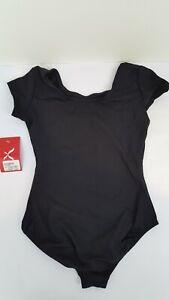 Capezio-Women-039-s-Short-Sleeve-One-Piece-Swimsuit-Black-L