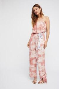 NEW Free People Just Float Peach Tie Dye Jumpsuit Size Large Strapless Shibori
