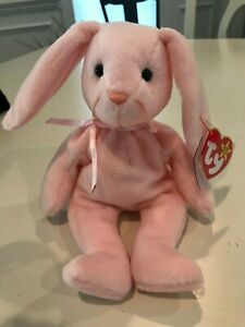 Ty Beanie Baby Babies HOPPITY The PINK Bunny Rabbit  MWMT