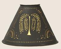 """Primitive Punched Tin """"willow"""" 6"""" Clip-on Lamp Shade In Dark Brown"""