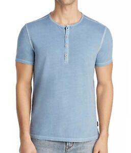 John Varvatos Star USA Men/'s Capri Blue Snap Button Henley Long Sleeve Shirt