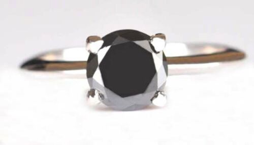 1.05 Carat Natural Black Diamond Round Shape 925 Sterling Silver Solitaire Ring