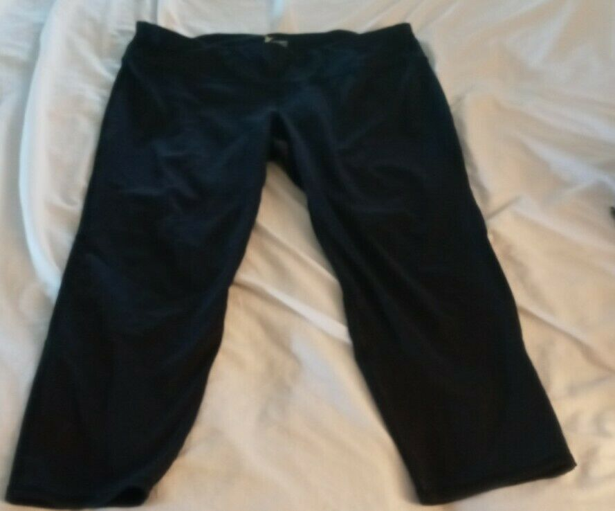 OLD NAVY Active Go Dry Fitted black Leggings Women's Size XL crop mesh pocket