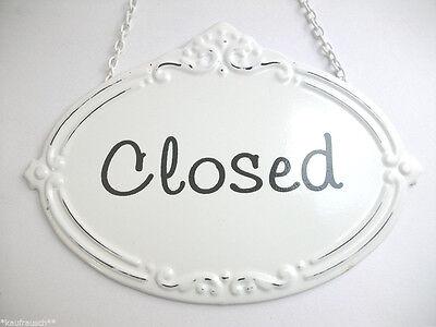 Blechschild CLOSED geschlossen weiß Türschild Schild Shabby Vintage Ladentür