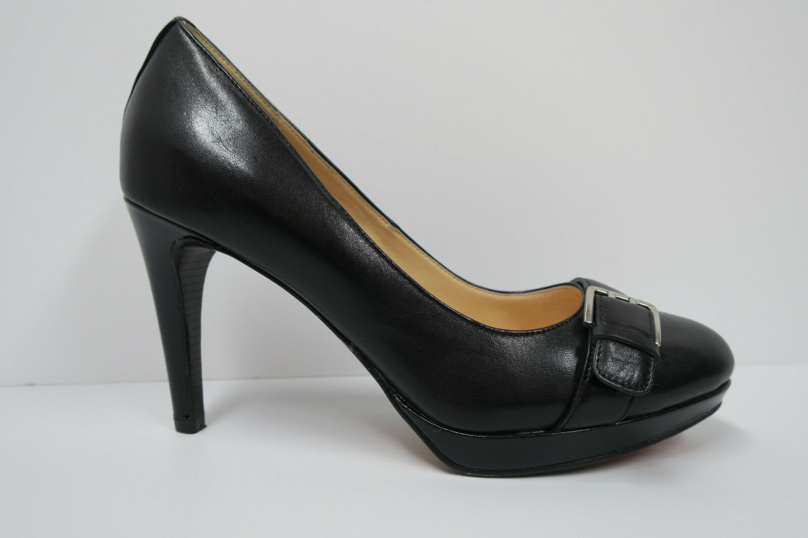 COLE HAAN AIR CHELSEA BUCKLE PUMP Black 8 B Platform Heels