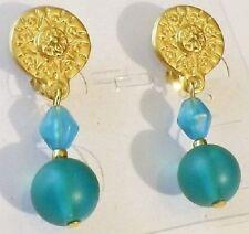 boucles d'oreille clips bijou couleur or tombantes perles bleu turquoise A14