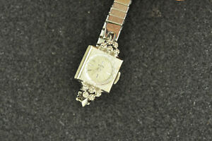 VINTAGE-LADIES-ELGIN-14K-SOLID-GOLD-AND-DIAMOND-WRISTWATCH-KEEPING-TIME