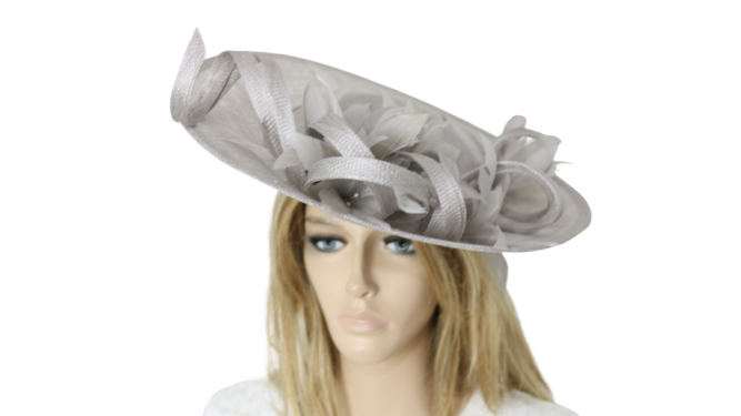 John Charles 26695 Grey Mother of the Bride Bridal Wedding Formal Fascinator Hat