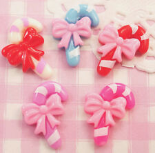 6 x Cute Christmas Candy Canes Flat Back Cabochons Kawaii Kitsch Crafts Decoden