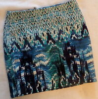 H&m Women's Paris Skyline Blue White Black Water Color Mini Skirt Size 2