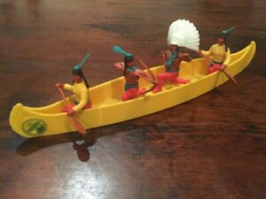 Timpo-Indian-War-Canoe-Yellow-Colour-Wild-West-1970-039-s