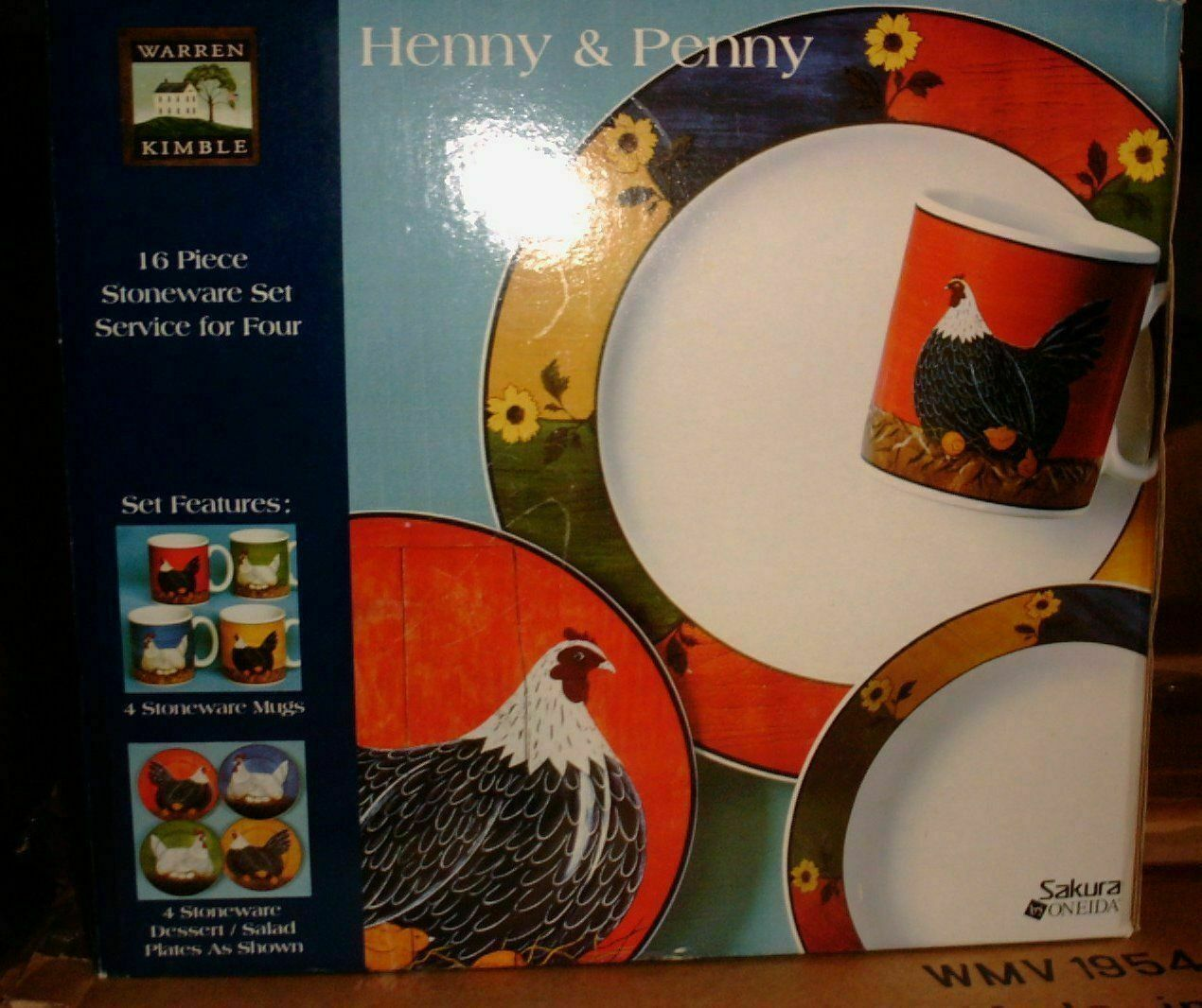 Warren Kimble HENNY PENNY 16 pc Dinnerware Set - Rare  BNIB