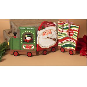 "23/"" WOODEN TRAIN SANTA CLAUS HOLIDAY COUNTDOWN CALENDAR CHRISTMAS DECOR"