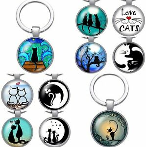Cat Keyring Gift Keychain Key Ring Silver Fob Kitten Lover Ladies Handmade TJ