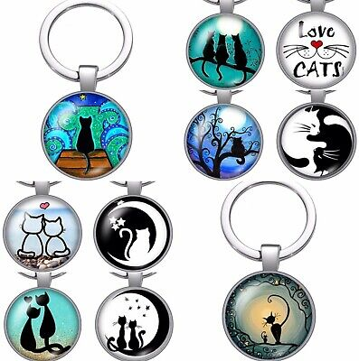 Cat Lover Keyring Gift Keychain Crazy Cat Lady Charms Key Ring Fob Silver Love