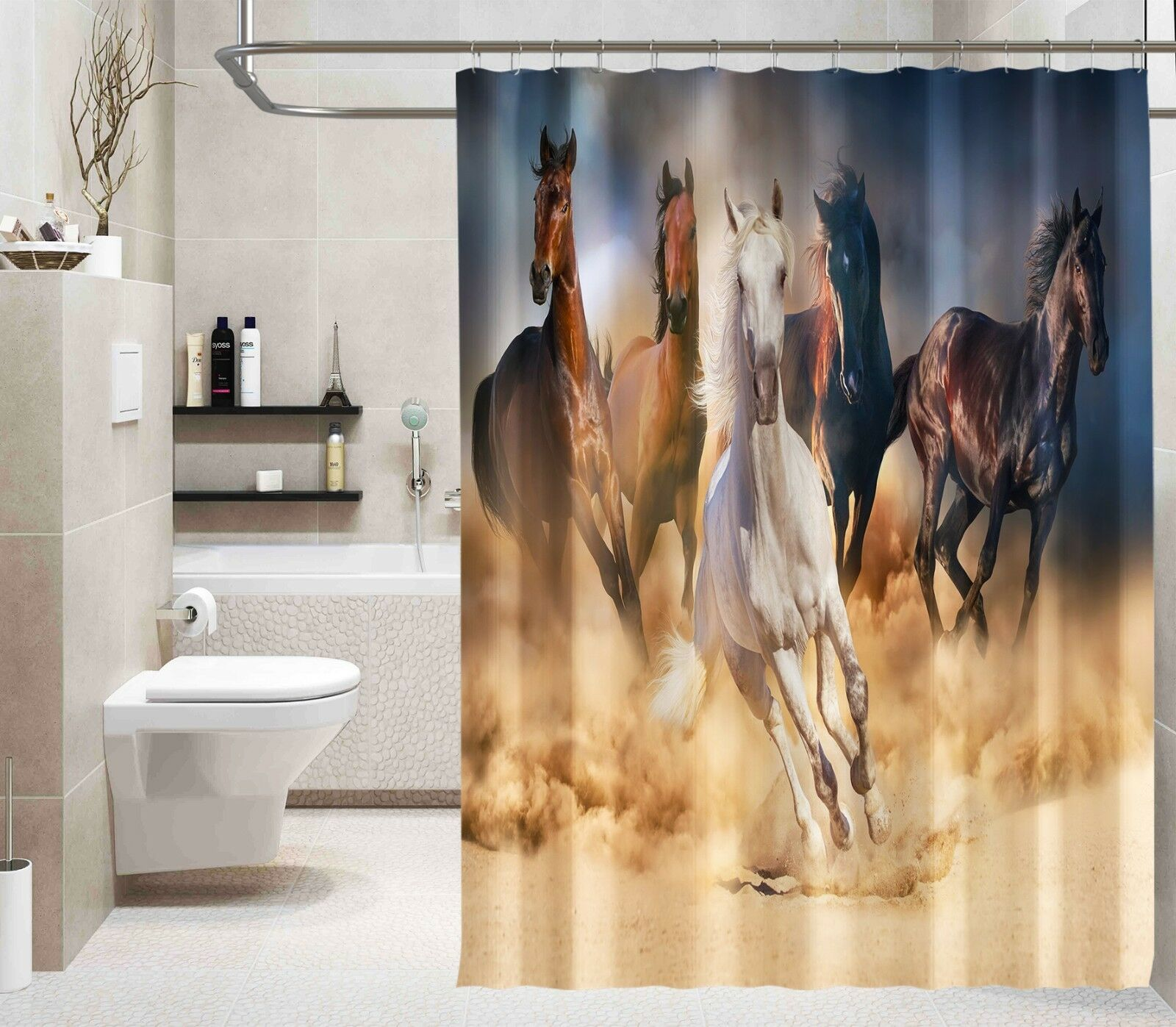 3D Horse Animal 231 Shower Curtain Waterproof Fiber Bathroom Home Windows Toilet