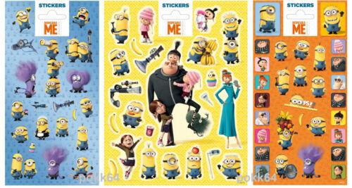 Me Despicable Mean 2 Stickers Sheets de 20 À 30 Stickers Minions Gru
