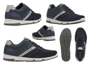Scarpe-da-uomo-Geox-WILMER-sneakers-casual-basse-vera-pelle-da-passeggio-estive