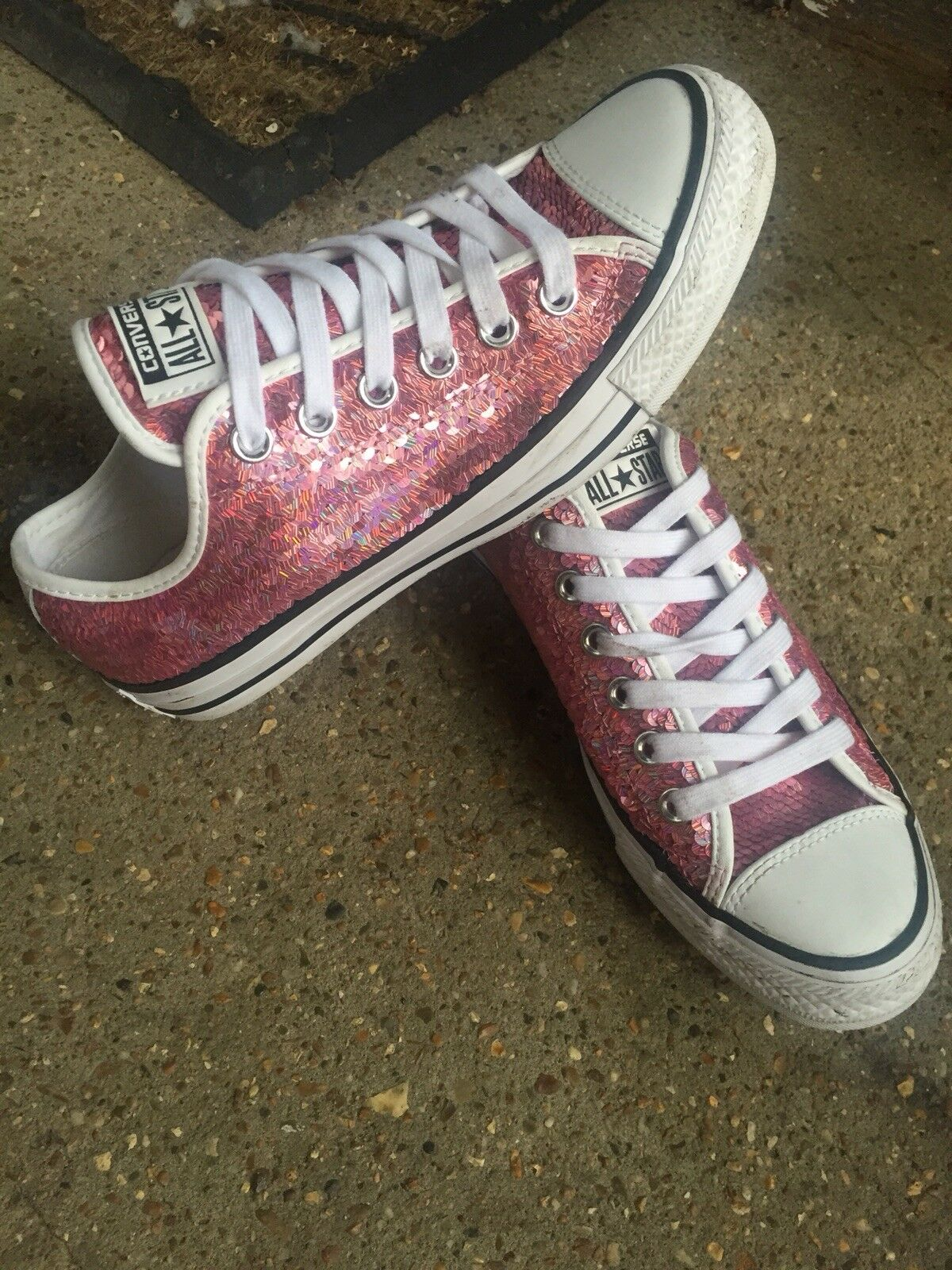 Converse Chucks Ultra Rare Pink Sequinned Converse Trainers Uk Size 5, Gorgeous