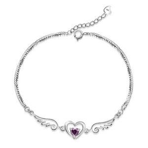 Image is loading Womens-Bracelet-925-Sterling-Silver-Angel-Wing-Heart- 00993ddaf
