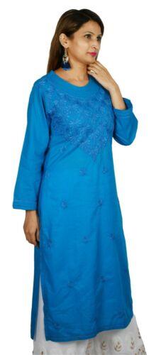 Floral Chikankari Dress Long Kurta 100/% Cotton Chikan Embroidery Indian Kurti