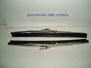 """560-390 MGB MK1 MINI STAINLESS STEEL WIPER BLADES 5 MM  X 2 (PAIR) 10"""" 1963-67"""